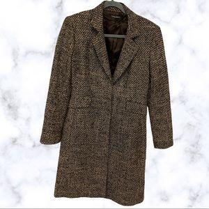 Tahari small virgin wool alpaca coat brown tweed long pockets blazer academia
